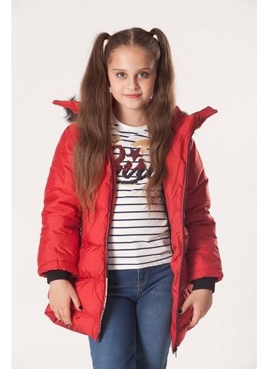 Le Ville Le Ville Yakası Suni Kürklü Kapüşonlu Şişme Mont Kız Çocuk   Kırmızı